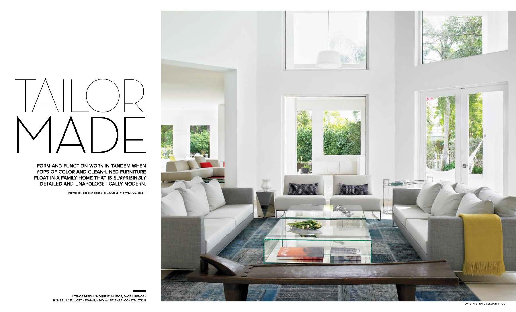 Luxe Magazine Features DKOR  INTERIOR DESIGN PRESS - Luxe home interiors