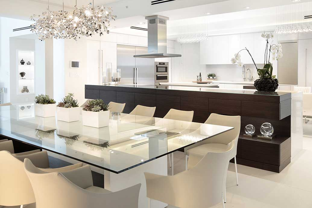 Styling a fort lauderdale penthouse with a custom dining table Interior designers in fort lauderdale