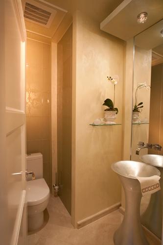 Interior Designed Powder Room at Jade Beach Penthouse in Sunny Isles, FL