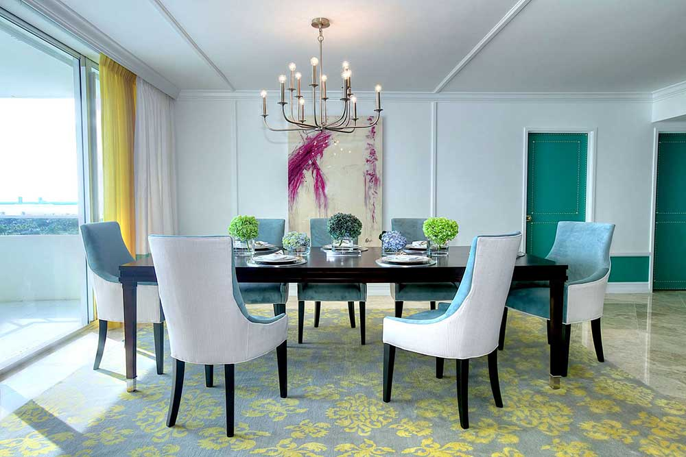 "Miami Dining Room from the ""Bright & Contemporary"" interior design project by DKOR Interiors"