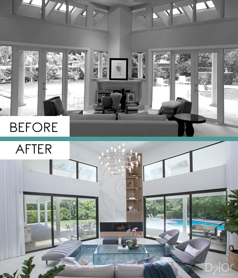 Dream Living Room: Before And After: A Contemporary Coral Gables Dream Home