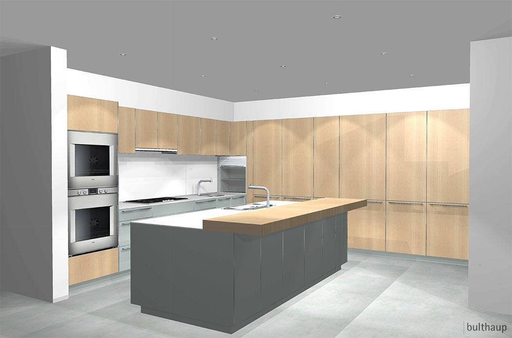 Contemporary retreat: kitchen & breakfast area layout