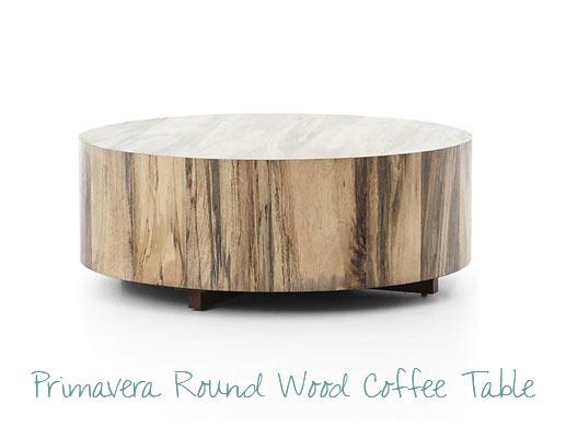 Round Wood Coffee Table - Coastal Look