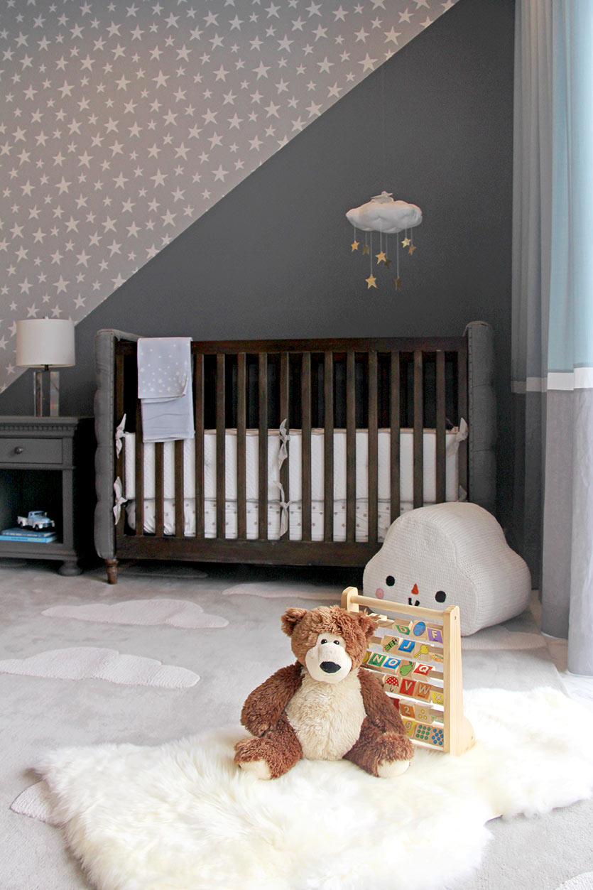 Modern Gray Nursery by Miami Decorators