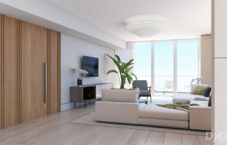 Mid-Century Modern Beach Retreat Living Room