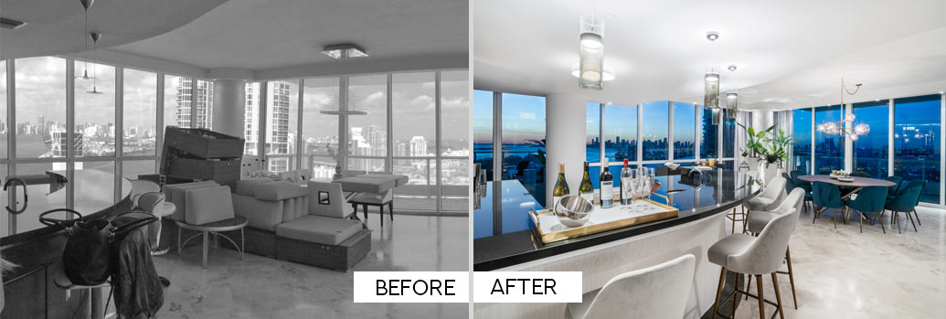 Before and After - Dining Room on Miami Beach Condo