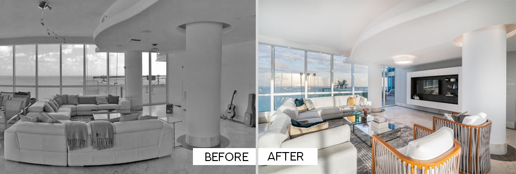 Before and After - Living Room on Miami Beach Condo