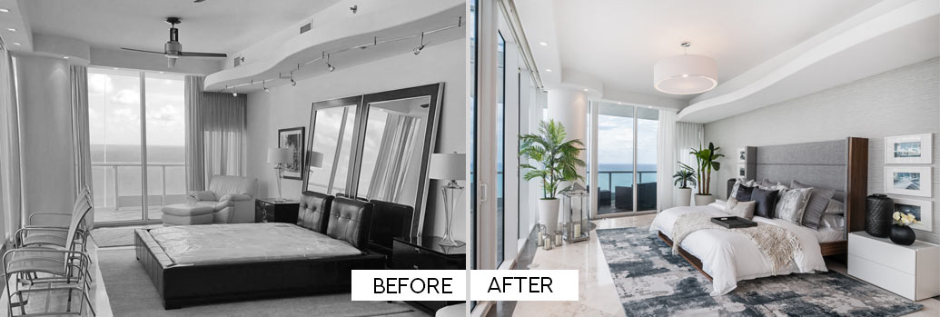 Before and After - Master Bedroom on Miami Beach Condo