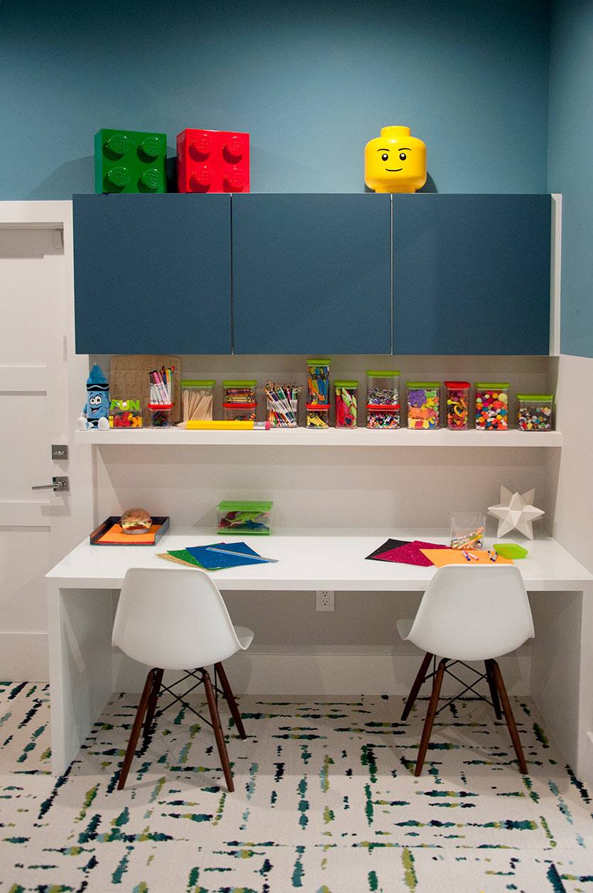new playroom design desk area