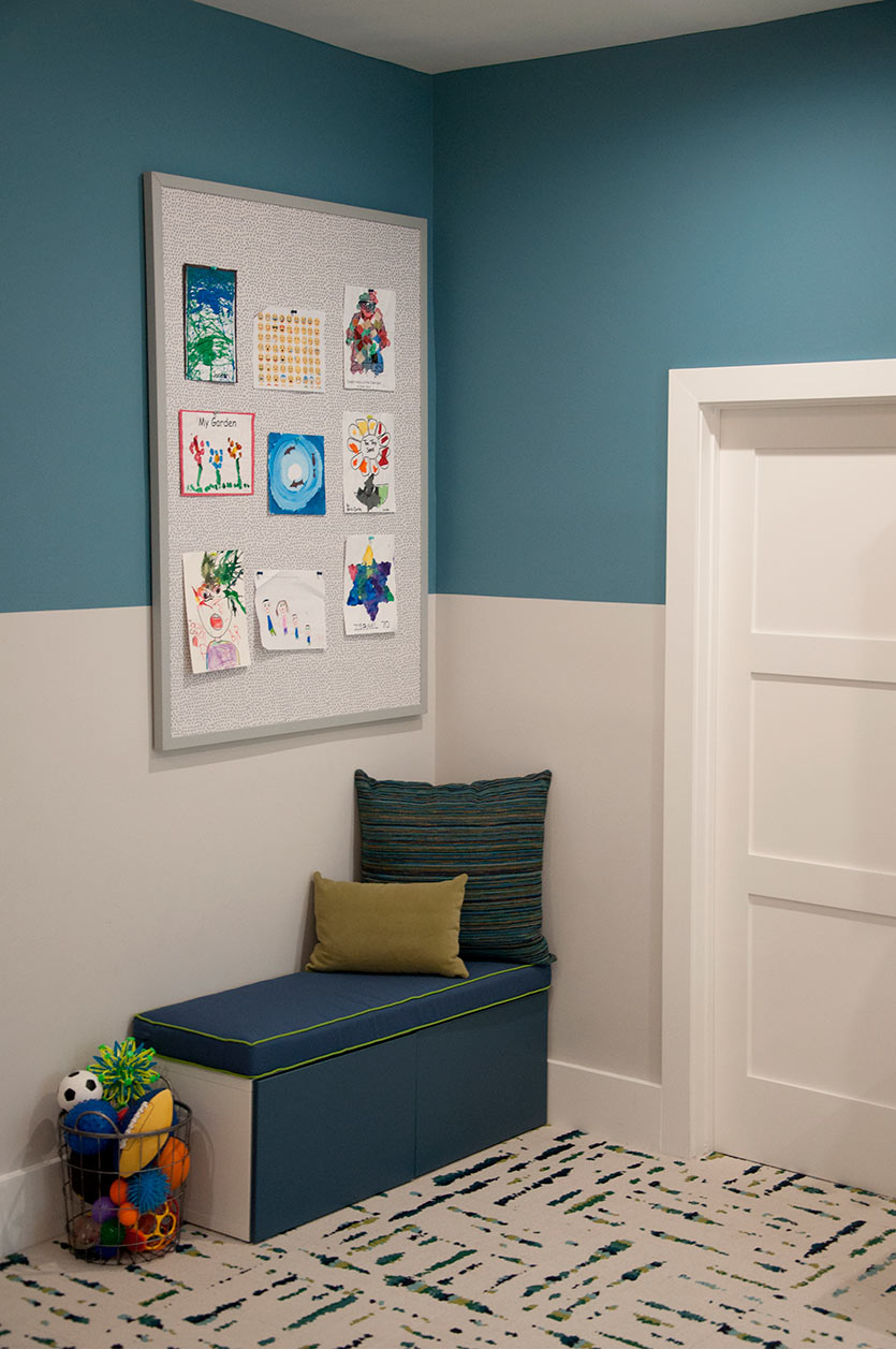 Reading corner in the new playroom