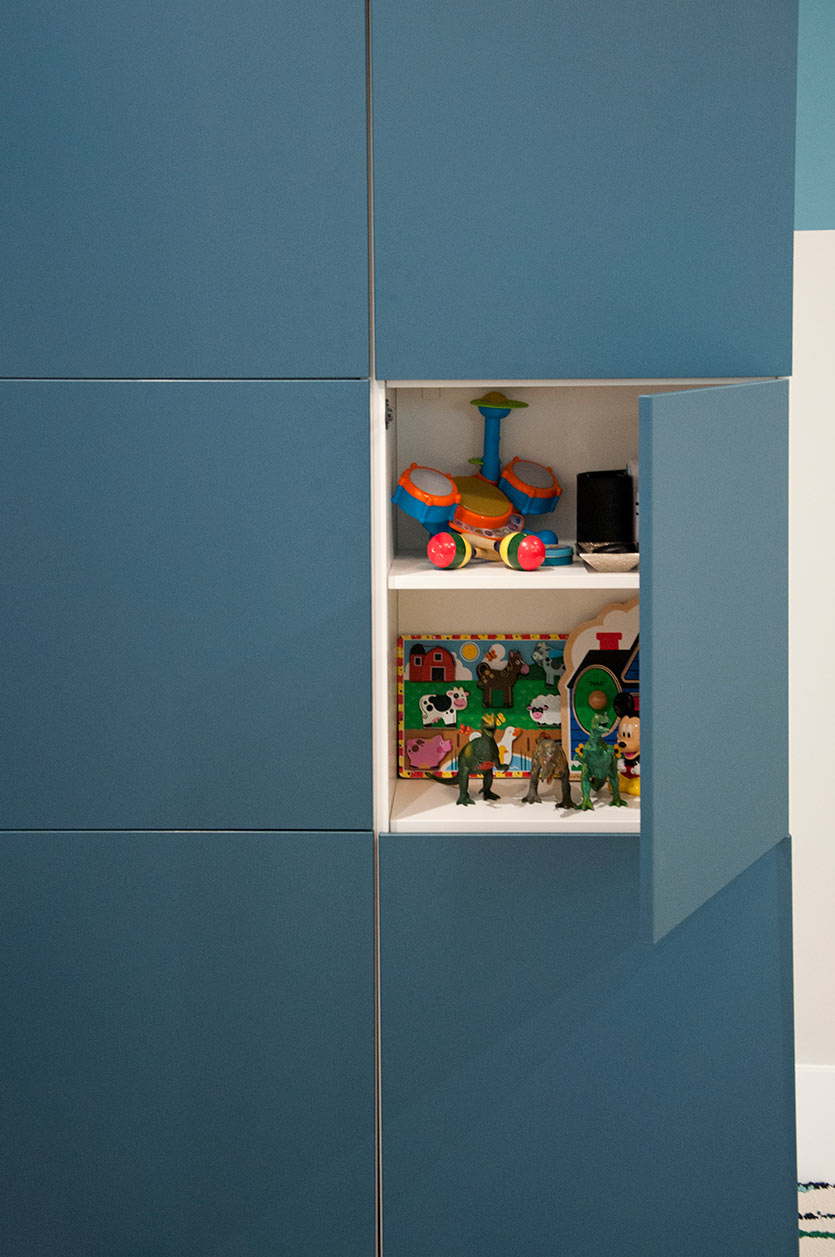 Cabinets for storage on playroom