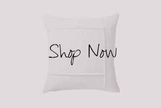 Pieced Woven Cotton Pillow Cream